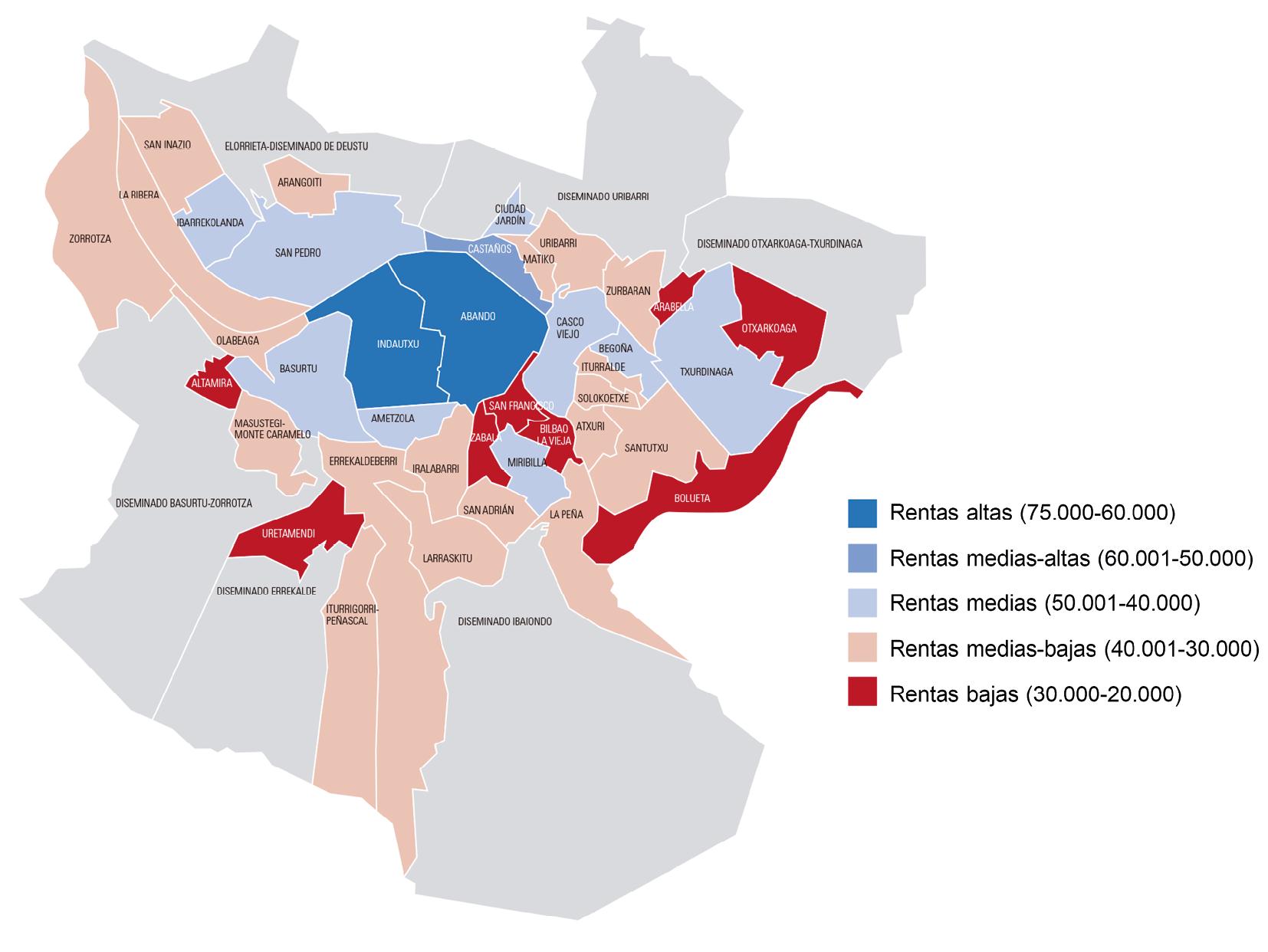 Fig. 5/ Distribución espacial de la renta familiar por barrios en Bilbao (2017).