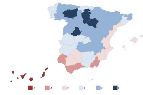 Fig. 3/ Mapa de zonas climáticas españolas según el CTE y distribución en ellas de las viviendas.